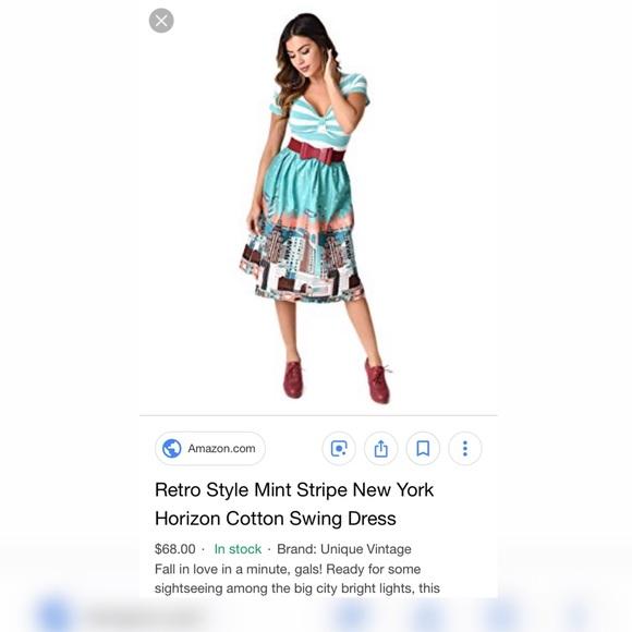 ae5c91865a0b Unique Vintage Dresses | Mint Striped Retro Style Swing Dress Belt ...